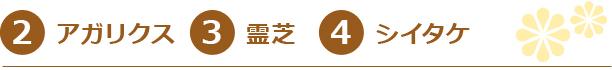 2.アガリクス3.霊芝4.シイタケ
